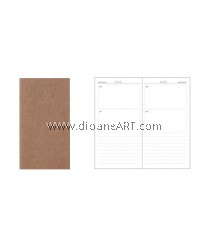 Daily Planner insert for Traveller's Journal/Notebook, 110 x 210mm, 80g x 64 pages, Cover: 300g Kraf paper, 1/pack