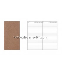 Lined pages insert for Traveller's Journal/Notebook, 110 x 210mm, 80g x 64 pages, Cover: 300g Kraf paper, 1/pack