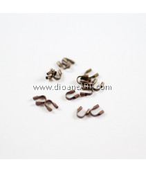 Brass Wire Guardian nd Protectors, Brass, Red Copper Color, About 4mm, wide, 5mm long, 1mm thick, hole: 0.5mm, 50 pcs/pack