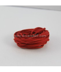 Velveteen Cord, Red, 3x2mm, Sold by per pack of 6m