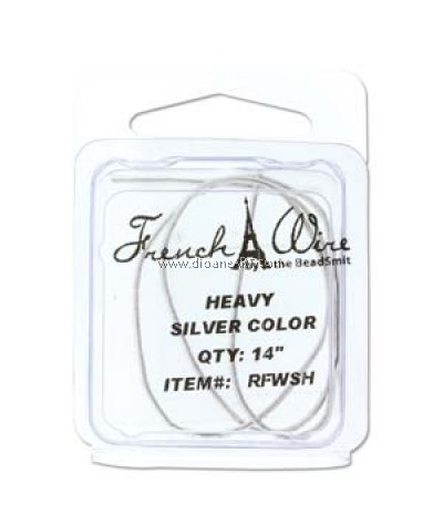 French Wire, Silver Colour,  Heavy (1.1MM) - 14inch.  Sold per pack of 14 inch