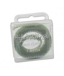 the Beadsmith, Tubular Metallic Wire Ribbon, Peridot, 6mm, 1 meter/card
