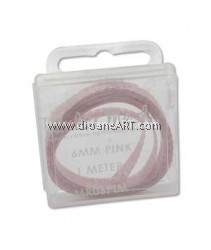 the Beadsmith, Tubular Metallic Wire Ribbon, Pink, 6mm, 1 meter/card