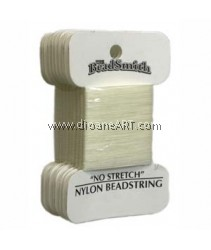 BEADSTRING, NO-STRETCH NYLON, NATURAL SZ 2 26YD CRD
