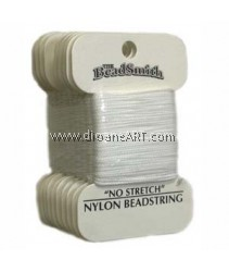 BEADSTRING, NO-STRETCH NYLON, WHITE, SZ 6 18YD CRD