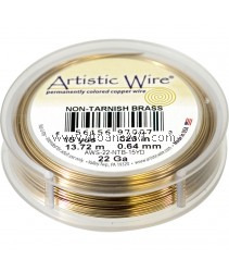 COPPER WIRE NON TARNISH BRASS, 22 GA 15 YD SPL