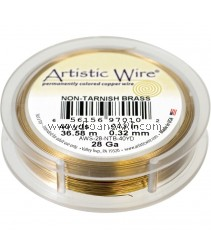COPPER WIRE NON TARNISH BRASS, 28 GA 40 YD SPL