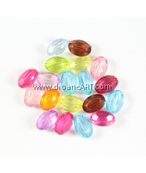 Acrylic Beads, Rondelle, Translucent, Mixed colors, 10x14x7mm, Hole: 2mm, 100 pcs/pack