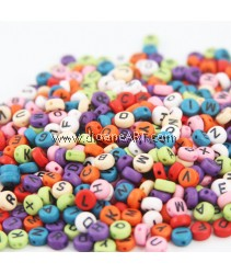 Alphabet Acrylic Beads, Mixed colour, 4x7mm, Sold per 50gm
