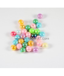 Acrylic Beads, AB colour, Round, Mixed Colour, 10mm, hole:1mm, 50pcs/ pack
