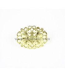 Brooch, Brass Flower Tray, Gold Colour, 24x31.5mm, pack/3pcs