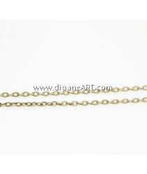 Iron Oval Chain, Antique Bronze color plated, nickel, lead & cadmium free, 2.80x4x0.70mm, Sold per pack of 4 meters