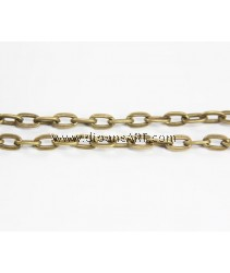 Iron Oval Chain, antique bronze color plated, nickel, lead & cadmium free, 9.80x5.90x1.60mm, Sold per pack of 2 meters