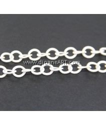 Iron Oval Chain, electrophoresis, white, nickel, lead & cadmium free, 8x8.80x1.60mm, Sold per pack of 2 meters