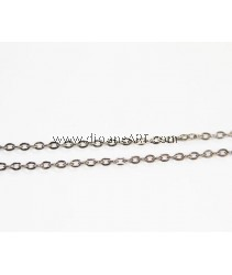 Iron Oval Chain, plumbum black color plated, nickel, lead & cadmium free, 2.80x4x0.70mm, Sold per pack of 4 meters