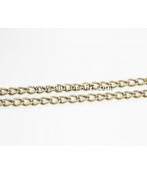 Iron Twist Oval Chain, antique bronze color plated, nickel, lead & cadmium free, 5x7.80x1mm, Sold per pack of 2 meters