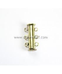 3-Strands Slide Lock Clasps, Antique Bronze, 20x7mm, 6 Holes, Hole 2mm, 3 pcs/pack