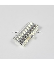 Brass Box Clasp, Rectangle, silver color plated, multi-strand, nickel, lead & cadmium free, 17x31x5mm, Hole:App 1mm, 1 pcs/pack