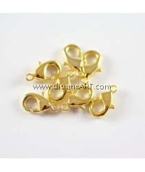 Brass Lobster Clasps, Golden color, 12x7x3mm, pack/10 pcs