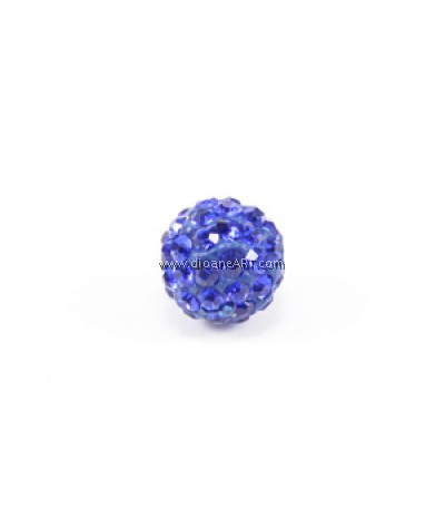 Chinese Crystal Pave, Blue, 10mm, Sold per pack of 2