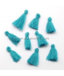 Cotton Thread Tassels Pendant Decorations, 25~31mm, Teal, 6pcs/pack