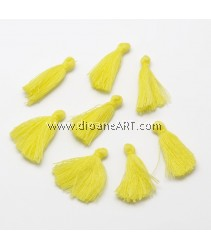 Cotton Thread Tassels Pendant Decorations, 25~31mm, Yellow, 6pcs/pack