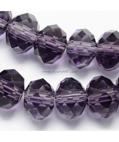 Crystal Glass Beads, Abacus, Indigo, 8x6mm, Hole: 1.mm, Sold per Strand (Ard 72pcs)