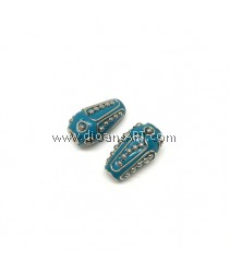 Handmade Indonesia Beads, Blue, Hole:4mm, 23mmx13mm, 2pcs/pack