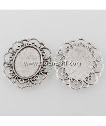 Flower Tray, Cabochon Setting, Antique Silver, Tray:25x18mm; 41x35x2mm, 6/pack