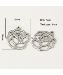 Stainless Steel (304), Pendant, Flower, 16x15x1cm, Hole:1mm, 6/pack