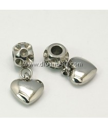 Stainless Steel European Dangle Beads, 9x12mm, 1 pcs/pack