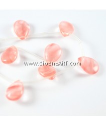Cherry Quartz, Teardrop Natural, 16x12x5mm, Hole: 1mm, 16 Inch, 1 strand