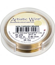 COPPER WIRE NON TARNISH BRASS, 26 GA 30 YD SPL