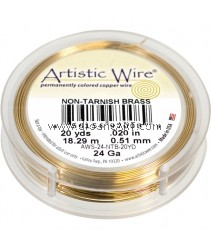 COPPER WIRE NON TARNISH BRASS, 24 GA 20 YD SPL