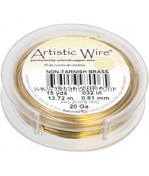COPPER WIRE NON TARNISH BRASS, 20 GA 15 YD SPL