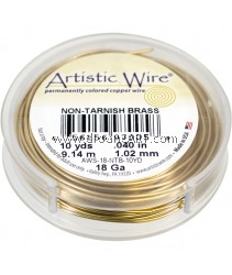 COPPER WIRE NON TARNISH BRASS, 18 GA 10 YD SPL