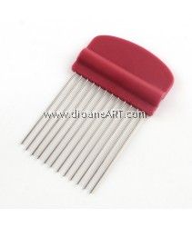 Paper Quilling comb Paper craft tool, DarkRed, 105x65x8mm; Pin: 1.5mm