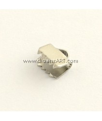 Ribbon Ends, 304 Stainless Steel, Stainless Steel Color, 6x6.5x4mm, Hole: 1.5mm, 10 pcs/pack