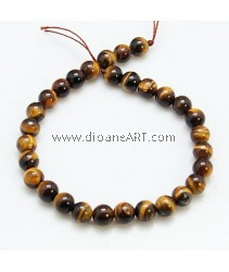 Tiger Eye Bead, Round, 6mm, Hole: 1mm; about 31pcs/strand