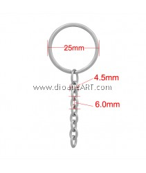 Key Chain Findings, Key Rings, 316 Stainless Steel, 25x65mm, 2 pcs/pack