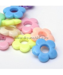Bead Frames, Flower, Acrylic, Mixed Opaque Color, 18.5x19x6x4mm, Hole: 1mm, 50 pcs/pack