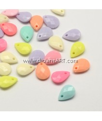 Pendant, Drop, Opaque Acrylic, Faceted, Mixed Color, 18x12x5mm, Hole: 2mm; about 30pcs/pack