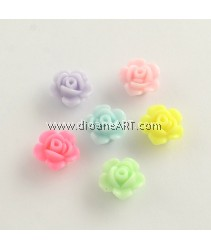 Bead, Flower, Acrylic, Opaque, Mixed Color, 13x8mm, Hole: 2mm, 40 pcs/pack