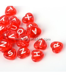 Bead, Alphabet Heart, Acrylic, Transparent Red, 10.5x11.5x4.5mm, Hole: 2mm, 20 pcs/pack