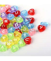 Bead, Alphabet Heart, Acrylic, Mixed Color, 10.5x11.5x4.5mm, Hole: 2mm, 20 pcs/pack