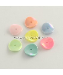 Bead, Flat Round, Acrylic, AB Color Plated, Mixed Color, 15x15x3mm, Hole: 2mm, 50 pcs/pack