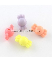 Bead, Candy, Acrylic, Mixed Color, 17x9x9mm, Hole: 1.5mm, 50 pcs/pack