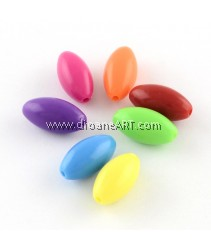 Bead, Oval, Acrylic, Mixed Color, 14x7mm, Hole: 1mm, 50 pcs/pack