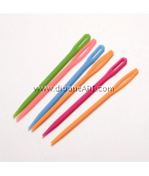 Child Plastic Knit Needles Sewing Knitting Cross Stitch, Two Types, Mixed Color, 71x4x2mm, Hole: 15x1.5mm and 10x1.5mm, 10 pcs/pack