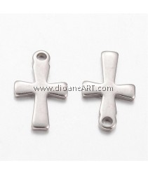 Pendant, Cross, 304 Stainless Steel, Stainless Steel Color, 12x7x1mm, Hole: 1mm, 10 pcs/pack
